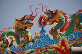 Bang Saen, Thailand: Roof Dragons at Chinese Temple — Stock Photo
