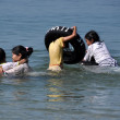 Bang Saen, Thailand: Thai Family Swimming in Sea — Stock Photo #40398369
