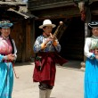 Lijiang Twp, China: Musician and Dancers at Dongba Cultural Village — Stock Photo #42175039