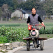 Stock Photo: Pengzhou, China: Farmer Pushing Ground Tiller