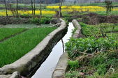 Pengzhou, China: Irrigation Canal Flowing through Farmlands — Stock Photo