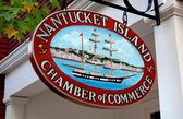 Chamber of Commerce Whaling Ship Sign on Nantucket Island, MA — Stock Photo