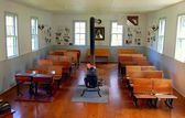 Southwold, NY: 1822 Bay View Schoolhouse Interior — Stock Photo