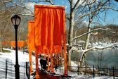 NYC: Christo's The Gates Art Installation in Central Park — Stock Photo