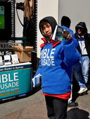 NYC:  Asian Youth Handing Out Biblical Literature — Stock Photo
