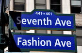 NYC:  Street Sign at 7th Avenue and Fashion Avenue — Stock Photo