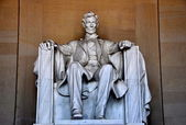 Washington, DC:  Abraham Lincoln Statue at Lincoln Memorial — Stock Photo