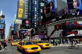 NYC:  Taxis in Times Square — Stock Photo