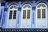 Singapore: Three Blue Shop House Windows — Stock Photo