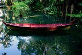 Batu Ferringhi, Malaysia: Boat at Spice Gardens — Stock Photo