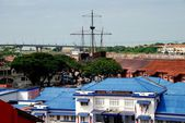 Melaka, Malaysia: View of city and distant Maritime Museum — Stok fotoğraf