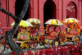 Melaka, Malaysia: Tri-Shaw Taxis — Stock Photo