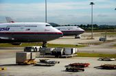 Kuala Lumpur, Malaysia: Boeing 747 at KL Airport — Stock Photo
