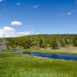 Rivers and geysers in Yellowstone — Stock Photo