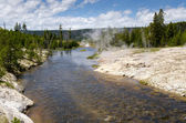 River and geysers in Yellowstone — Stock Photo