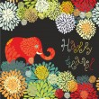 Postcard with elephant — Image vectorielle