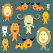 Funny animals set  — Stock Vector