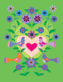 Aves do paraíso — Vetor de Stock