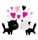 Sevgililer kedi aşık — Stok Vektör