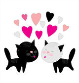 Valentines cats in love — Stock Vector