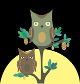 Owls at night — Stock Vector
