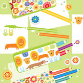 Pencil cases on a table — Stock Vector