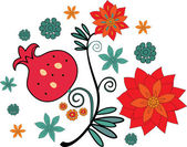 Ornament with pomegranate — Stock Vector