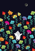 Slippy bunny with flowers — Stock Vector