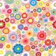 Seamless pattern with hippie flowers — Stock Vector