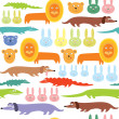 African animals seamless pattern — Stock Vector