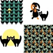 Set of cat and dog seamless patterns — Vector de stock