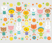 Wall paper border with cartoon animals for children room — Stock Vector