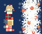 Christmas kitten card design — Stock Vector