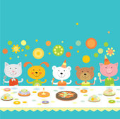 Birthday party with friends — Stock Vector