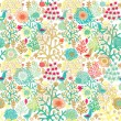 Floral pattern with small birds — Stock Vector