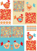 Floral patterns and birds — Stock Vector