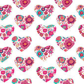 Pattern with hearts and flowers — Stock Vector