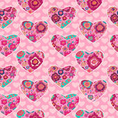 Floral pattern with hearts — Stock Vector