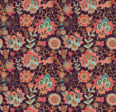Paisley floral pattern with flowers — Stok Vektör