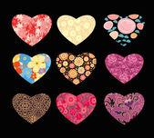 Decoratieve harten — Stockvector