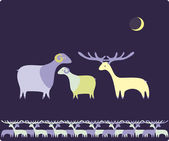Sheep and deer pattern — Stock Vector