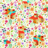 Pattern with spanish houses — Stock Vector