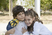 Preschool girl and boy - cordial friendship — Stock Photo