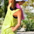 Young lady in sorts outfit training in the park morning — Stock Photo #34663685