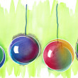 Christmas Balls Seamless Banner  — Stock Photo