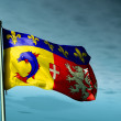 Stock Photo: Rhone-Alpes (France) flag waving on wind