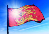 Haute Normandie (France) flag waving on the wind — Stock Photo