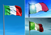 Italy flag waving on the wind — Stock Photo