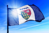 Northwest Territories (Canada) flag waving on the wind — Stock Photo