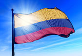 Colombia flag waving on the wind — Stok fotoğraf